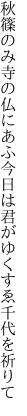 秋篠のみ寺の仏にあふ今日は 君がゆくすゑ千代を祈りて