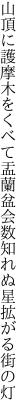 山頂に護摩木をくべて盂蘭盆会 数知れぬ星拡がる街の灯