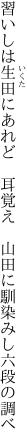 習いしは生田にあれど 耳覚え  山田に馴染みし六段の調べ